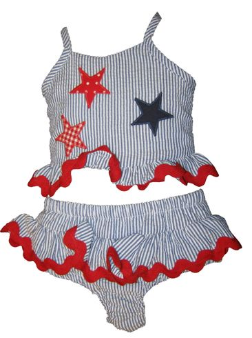 Funtasia Too Love Counting Stars Girls Two Piece Swimsuit with Stars Appliqued.