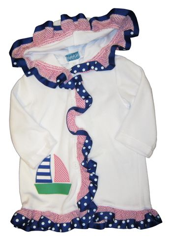 Funtasia Too Love Sailing Girls Cover Up with a Sailboat Appliqued.