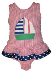 Funtasia Too Love Sailing Girls One Piece Seersucker Swimsuit with a Sailboat Appliqued.