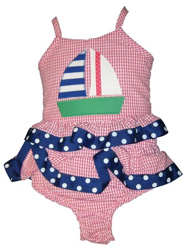Funtasia Too Love Sailing Girls Two Piece Seersucker Swimsuit with a Sailboat Appliqued.