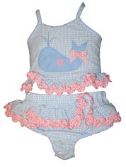 Funtasia Too Love Whale Watching Two Piece Seersucker Swimsuit with a Whale Appliqued.