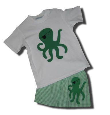 Funtasia Too Marco Polo octopus tee shirt and matching swimtrunks. Super cute and popular because of the seersucker material.