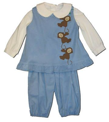 Funtasia Too Monkey Biz blue popover set with monkeys on the front and a matching white blouse. Matches the boys and great for many occasions.