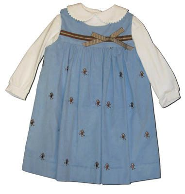Funtasia Too Monkey Biz blue yoke jumper with embroidered monkeys and a white blouse. Super cute and matches the boys.
