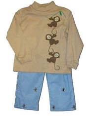 Funtasia Too Monkey Biz light brown shirt with monkeys on the front and matching monkey embroidered blue pants. Monkey around with this cute outfit.