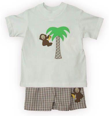 Funtasia Too Monkey Tricks boy baby clothes white shirt with a monkey and banana and matching brown and white checked swimtrunks. Very cute and comfortable.