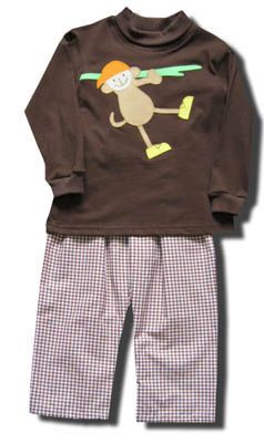 Funtasia Too Monkeying Around brown pant set with a monkey on the front of the brown turtleneck. Super cute for your little monkey and matches the girls.