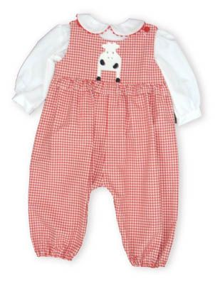 Funtasia Too Mrs. Moo Moo red and white checked longall with a cow on the front and a white blouse to go underneath.