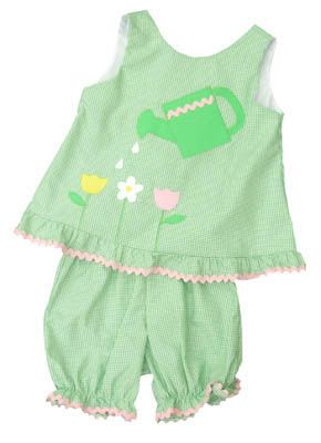 Funtasia Too My First Garden green checked popover set with watering pail and three flowers on the front. Super cute for your little gardener.
