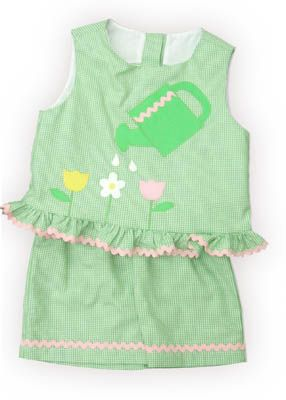 Funtasia Too My First Garden green checked swing top set with watering pail and three flowers on the front and matching shorts. Super cute for your little gardener.