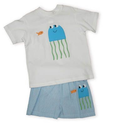 Funtasia Too My Squishy white shirt with a jellyfish applique and matching turquoise and white swimtrunks with a jellyfish applique.