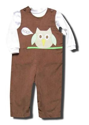 Funtasia Too Night Owl Hoot brown longall set with an owl on the front and a white turtleneck. Fun for your boy.