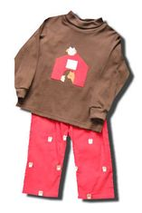 Funtasia Too Night Owl pant set with owl and barn embroidery on the front of the shirt and matching pants. Fun for your boy. Matches the girls.