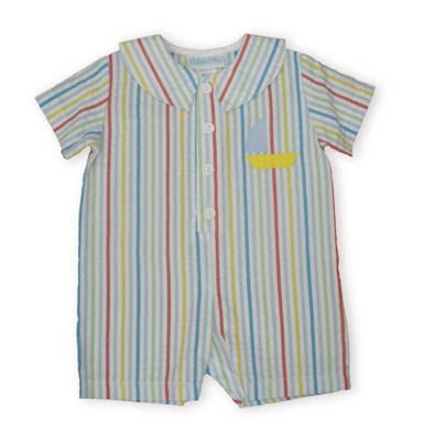 Funtasia Too One, Two, Three Racing Sailboats multicolored striped romper with an applique sailboat.