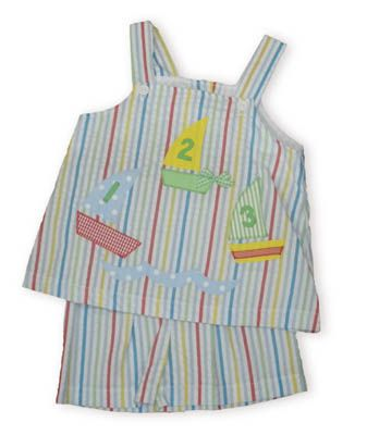 Funtasia Too One, Two, Three Racing Sailboats multicolored striped swing top with matching shorts.