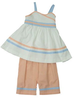 Funtasia Too `Orange You Glad It`s Summer` orange, white, and blue crop top capri set that is very comfortable and cute.