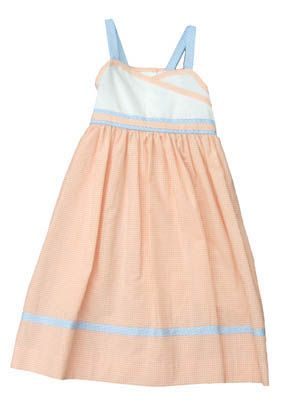 Funtasia Too `Orange You Glad It`s Summer` orange, white, and blue sundress that is very comfortable and can be worn with a blouse, with a sweater, or by itself.