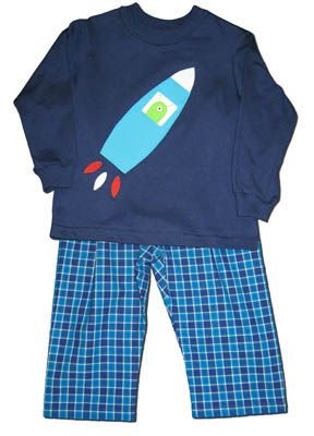 Funtasia Too Out of This World pant set with rocket appliqued on shirt and matching pants.