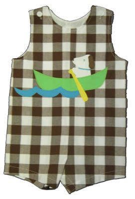 Funtasia Too Paddling Pals brown checked shortall with a dog in a canoe on the front. Super adorable style for your boy.