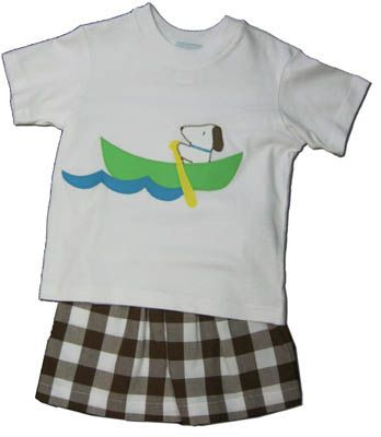 Funtasia Too Paddling Pals short set with a dog in a canoe on the shirt and matching brown checked shorts. Fun and great for your boy.