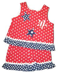 Funtasia Too Patriotic Girls red with white dots crop top set with stars appliqued on top and matching red with white dots shorts.