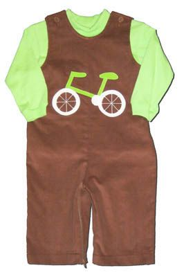 Funtasia Too Pedal Pushers super fun brown longalls with a bicycle on the front and a matching lime turtleneck. Bike on down the sidewalk in this great outfit.