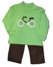 Funtasia Too Pedal Pushers super fun lime shirt with a bicycle on the front and matching brown pants. Bike on down the sidewalk in this great outfit.