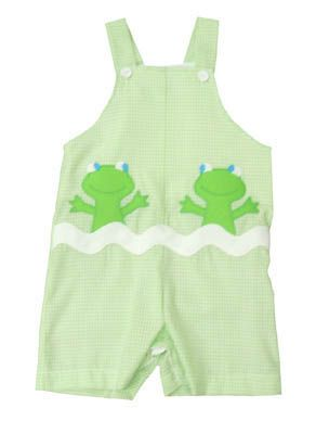 Funtasia Too Peek-a-Boo Frog green and white checked shortall with two happy frogs. Super cute and matches the boys outfits.