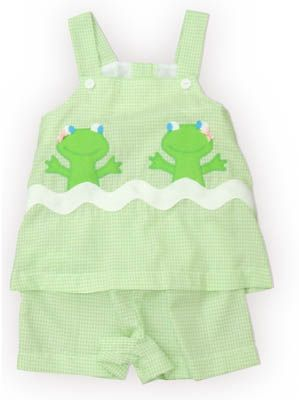 Funtasia Too Peek-a-Boo Frog green and white checked swing top set with two happy frogs. Super cute and matches the boys outfit.