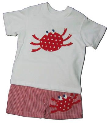 Funtasia Too Pinch Hitter cute crab swim set with a crab on the shirt and red checked seersucker swimtrunks. Coordinates with the girls.