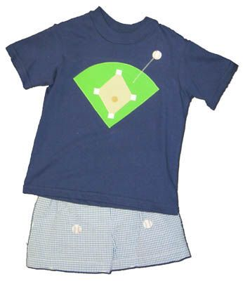 Funtasia Too Pinch Hitter navy shirt with a baseball field on the front and matching navy checked seersucker swimtrunks with embroidered baseballs. Super fun and cute.
