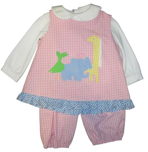 Funtasia Too Pink Checked Zoo Animal Popover Set with matching bloomers and blouse.