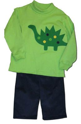 Funtasia Too Polka Dot Dino green pant set with a dino on the front. Great for play and school.