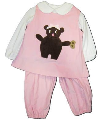 Funtasia Too Pretty Lil Teddy pink corduroy popover set with a teddy bear on the front. Darling and perfect for your little cuddly one. Blouse included.