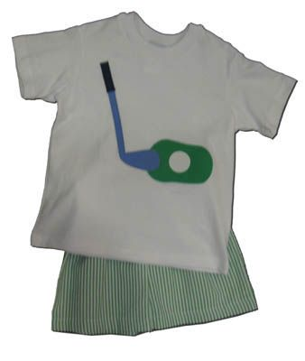 Funtasia Too Putt Putt short set with a golf club and ball on the shirt. Comfortable and fun for your aspiring golfer.