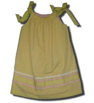 Funtasia Too Quit Bugging Me yellow checked reversible pillowcase dress. Very comfortable and matches the boys.