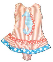 Funtasia Too Ride the Seahorse One Piece orange seersucker swimsuit with a seahorse appliqued.
