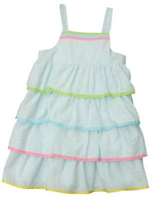 Funtasia Too Ruffles, Volantes, Increspature aqua and white striped dress with four tiers of ruffles on the top. Very cute!