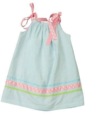 Funtasia Too Ruffles, Volantes, Increspature aqua and white striped pillowcase dress with ribbons that tie at the shoulders. Very cute and is reversible!