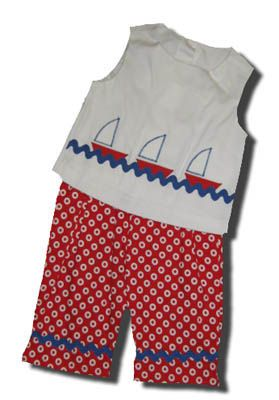 Funtasia Too Sailing Time crop top with three sailboats and matching circle capri pants. Very comfortable and matches the boys.