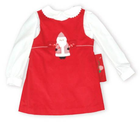 Funtasia Too Santa Land red a-line jumper with a button-on Santa Clause and a white blouse to go underneath. Also comes with an apple button-on.