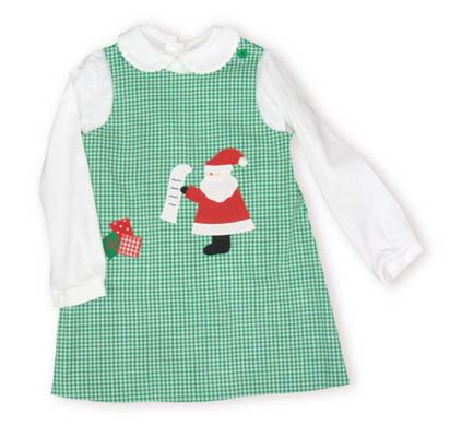 Funtasia Too Santa`s List reversible green checked jumper with Santa Claus and his list on the front. Blouse included.