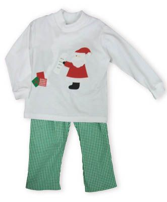 Funtasia Too Santa`s List white turtleneck with Santa Claus and his list on the front. Comes with green checked pants.
