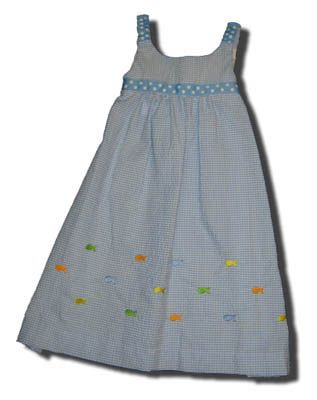 Funtasia Too School of Fish blue checked sundress with embroidered fish. Cute, fun, and great for parties.