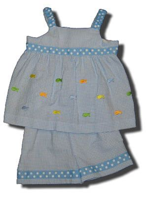 Funtasia Too School of Fish blue checked swing top set with embroidered fish that matches the boys. Comfortable for school and play.