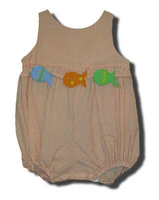Funtasia Too School of Fish orange checked bubble with three fish on the front. Very comfortable and matches the boys.