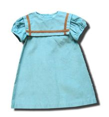 Funtasia Too Sea Blue sailor dress with brown trim. Very classic and matches the boys.