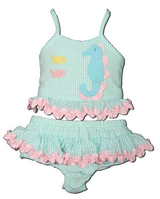 Funtasia Too Seahorse and Friends aqua checked seersucker two piece swimsuit with a seahorse on the front. Cute and comfy.