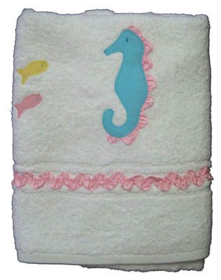Funtasia Too Seahorse and Friends towel with a seahorse on the front. Super cute and matches the swimsuit.