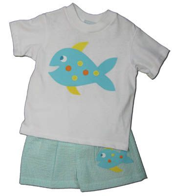 Funtasia Too Seahorse and Friends white shirt with a fish on the front and aqua checked seersucker swimtrunks. Super cute and a great swim outfit.